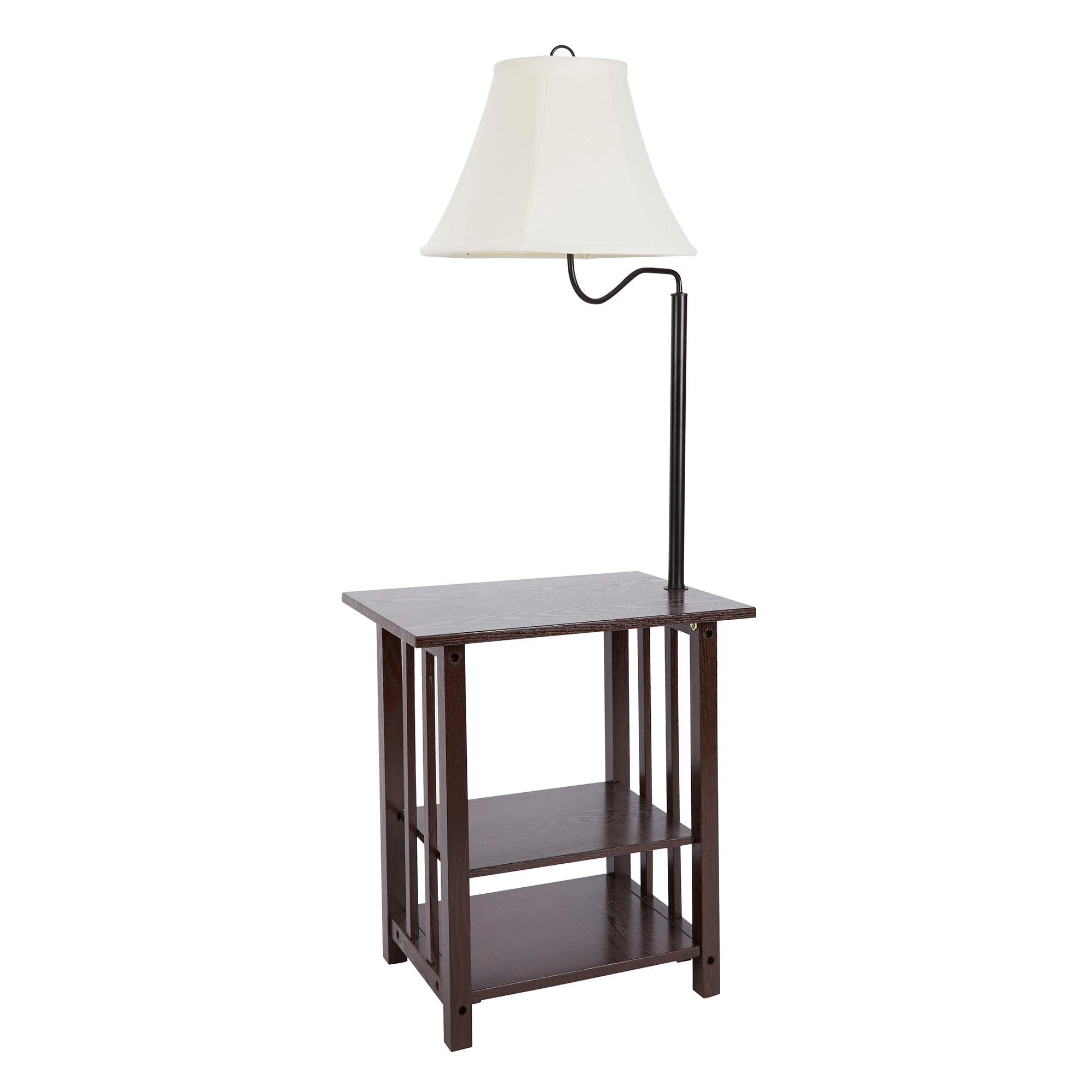 homes and gardens 3 rack end table floor lamp cfl bulb included. Black Bedroom Furniture Sets. Home Design Ideas