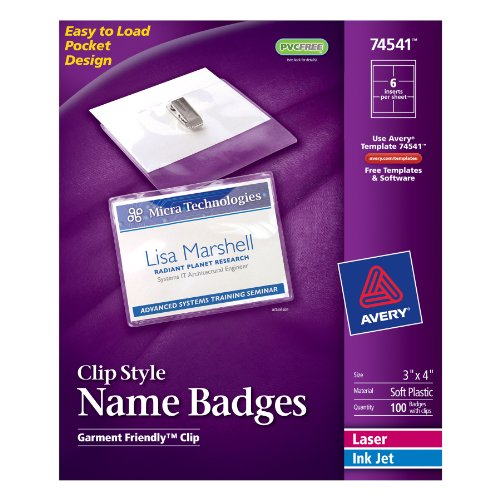 Avery top loading clip style name badges soft plastic 3 for Avery name plate template