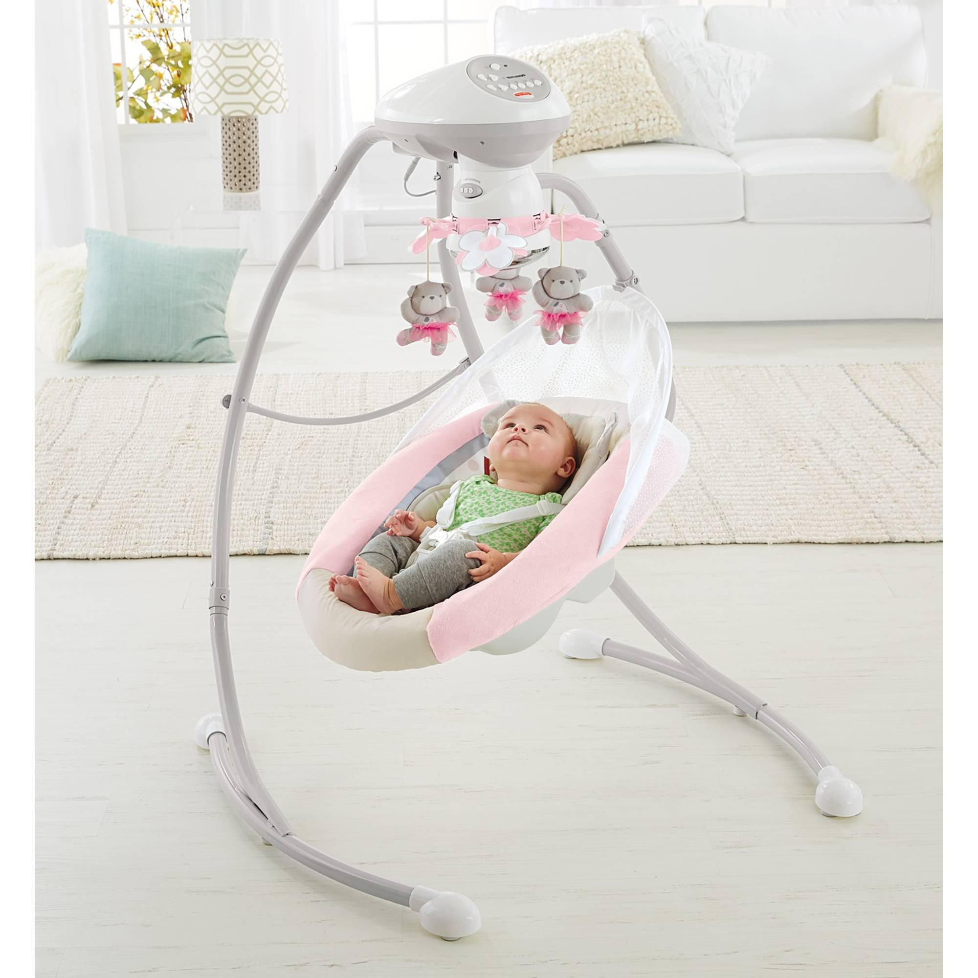 Fisher-Price My Little Snugabear Cradle 'n Swing, Pink | eBay