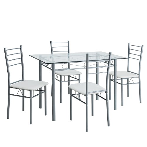 Lexmod urban glass table and four chair dining set for Four chair dining table set