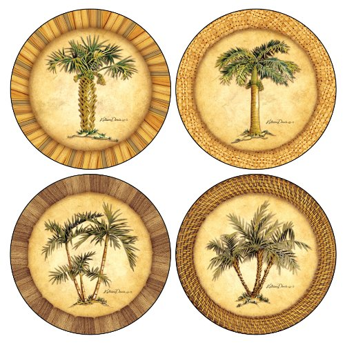 Coasterstone as1990 absorbent coasters 4 1 4 inch palm tr for Best coasters for sweaty drinks