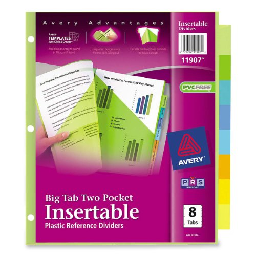 Avery big tab two pocket insertable plastic dividers 8 for Avery big tab inserts for dividers 8 tab template