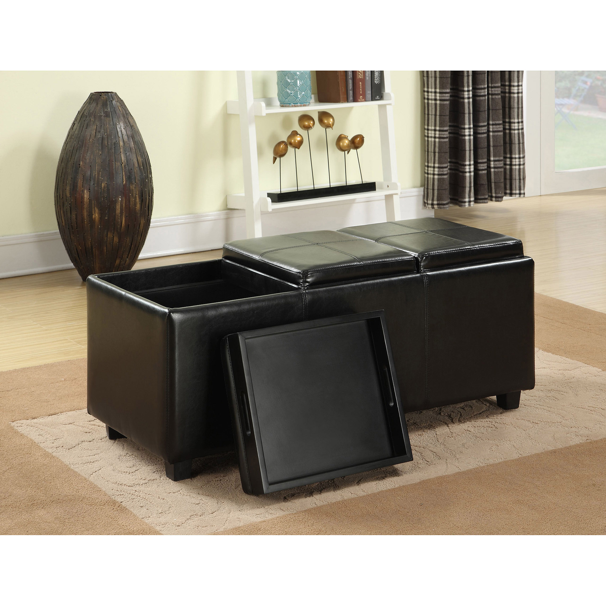 Avalon Extra Large Storage Ottoman With 3 Serving Trays Ebay