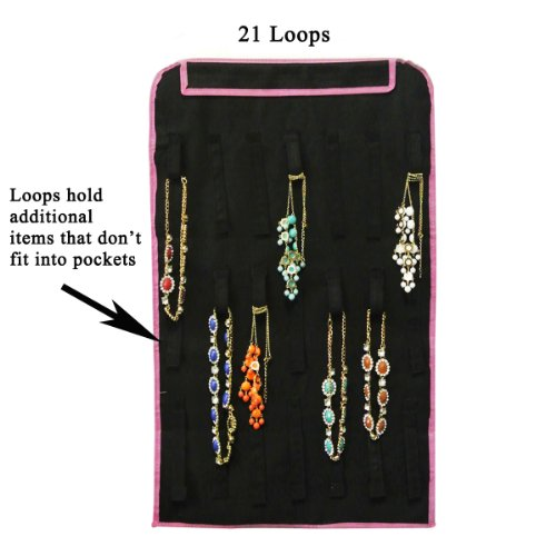 allydrew 28 zippered pockets hanging jewelry organizer with 21 ho. Black Bedroom Furniture Sets. Home Design Ideas