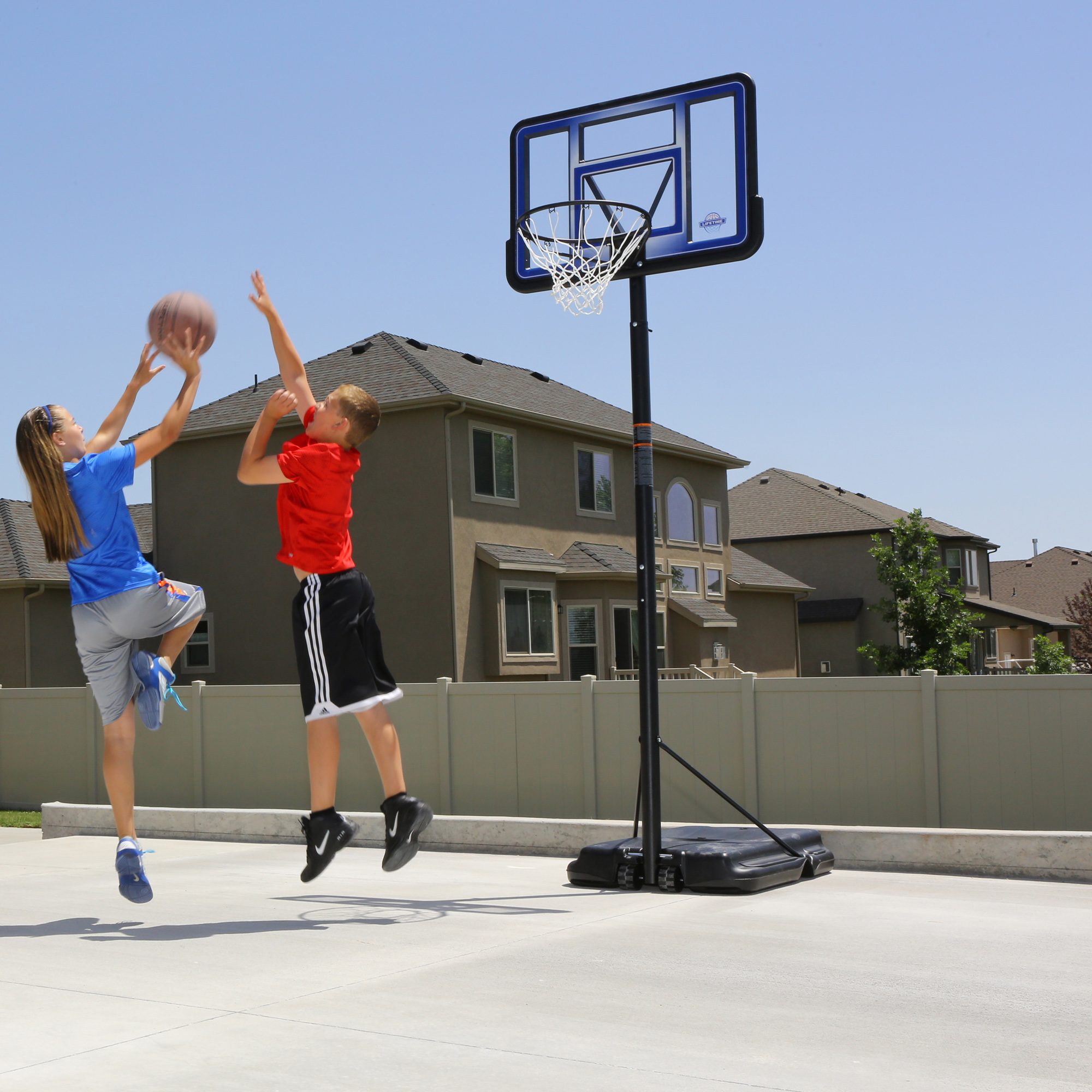 Portable Basketball Court : Lifetime quot portable height adjustable basketball system