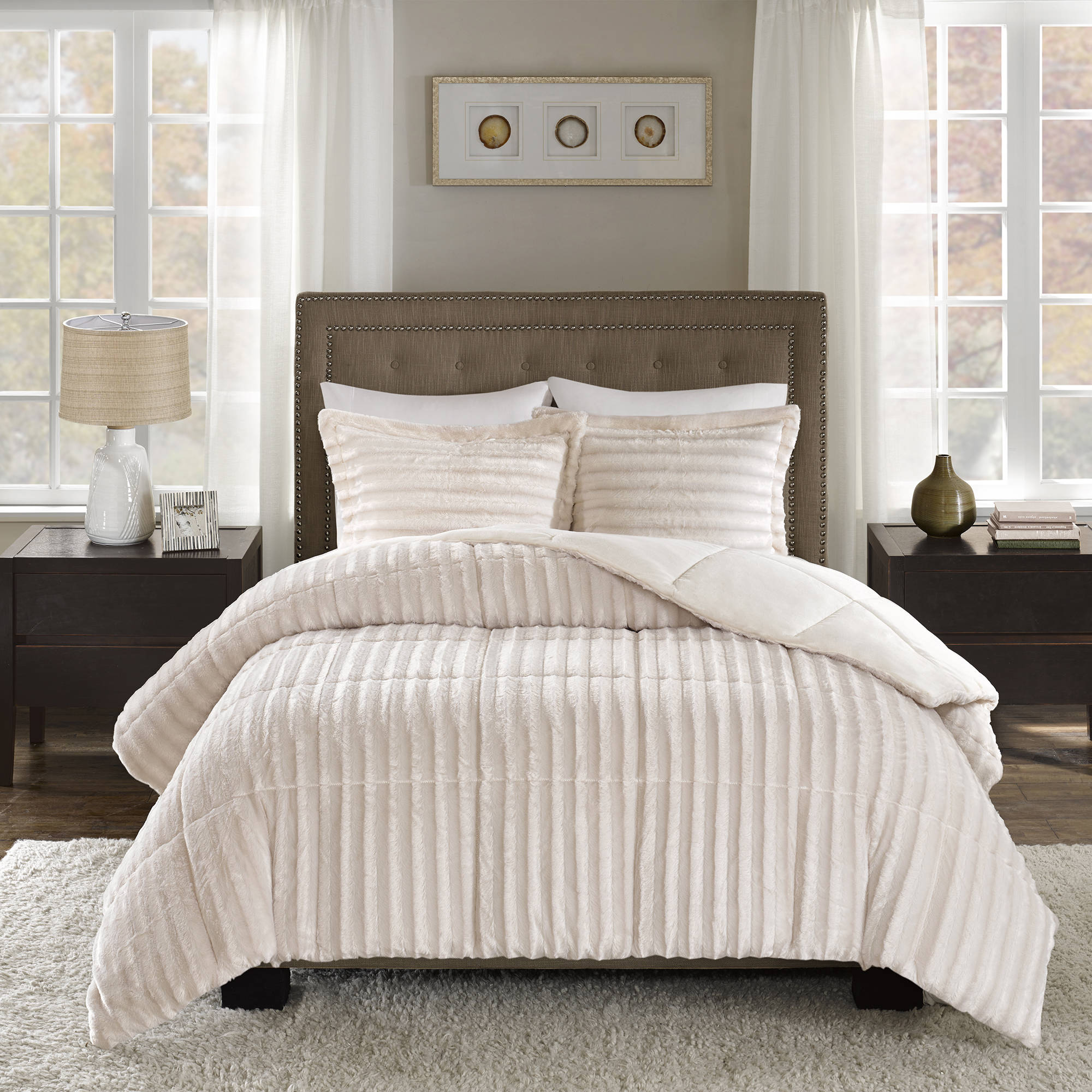 luxury gallery cream strawberry comforter fur faux