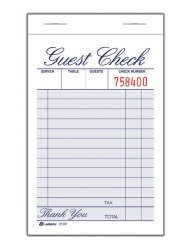 New star center fold guest check presenter 105 inch by 55 inch adams guest check pad 1 part 334 x 544 inches 100 sheets per pad 12 pads per pack white 2100 12 ccuart Images