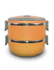 stacking lunch box oval two tier tiffin with vacuum seal lid an. Black Bedroom Furniture Sets. Home Design Ideas