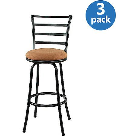 Mainstays Metal Swivel Bar Stool 29'', Set of 3, Black - Mainstays - Wooden Bar Stools Walmart Baileys Kitchen