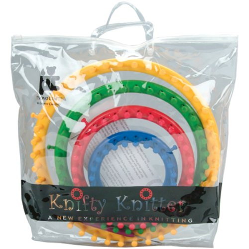 Round Knitting Loom Set Italiano : Genuine knifty knitter round loom set with looms hook bag