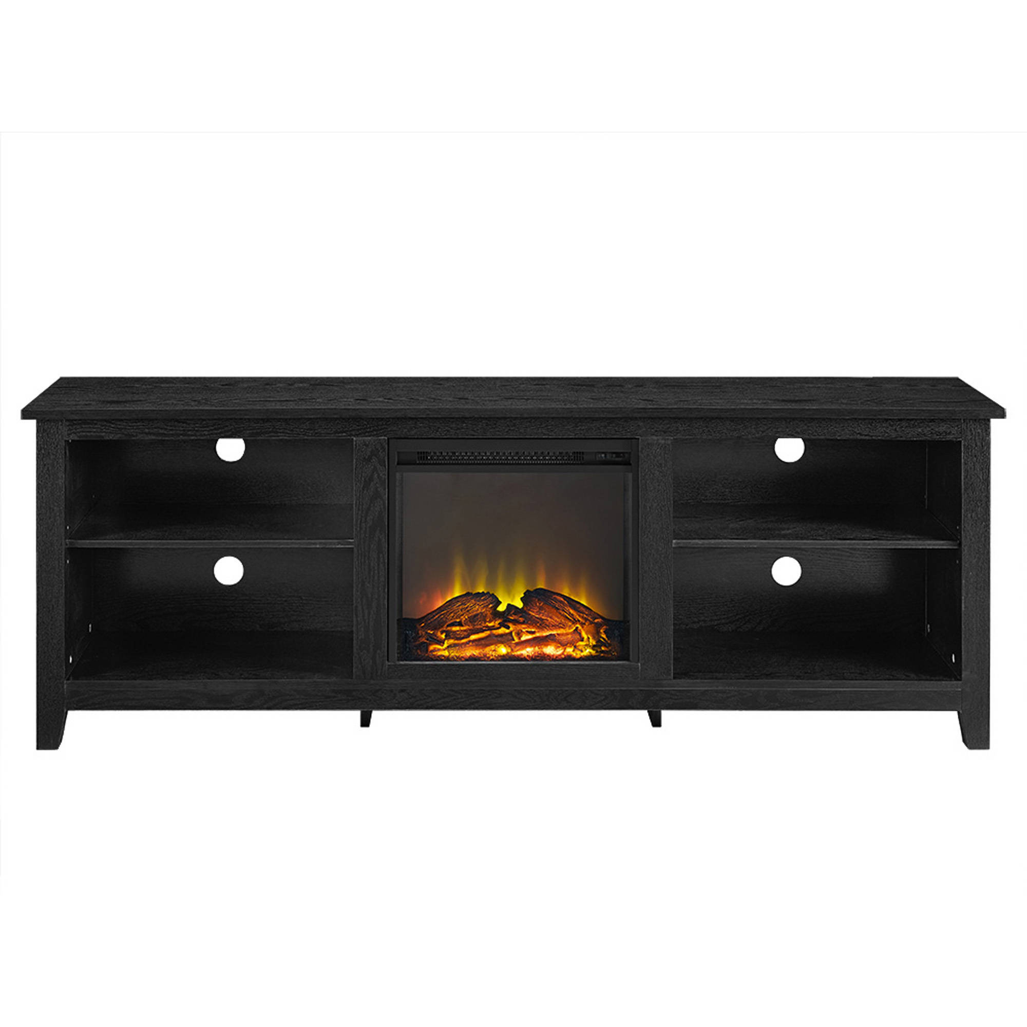 Walker Edison Wood Tv Stand With Fireplace For Tvs Up To