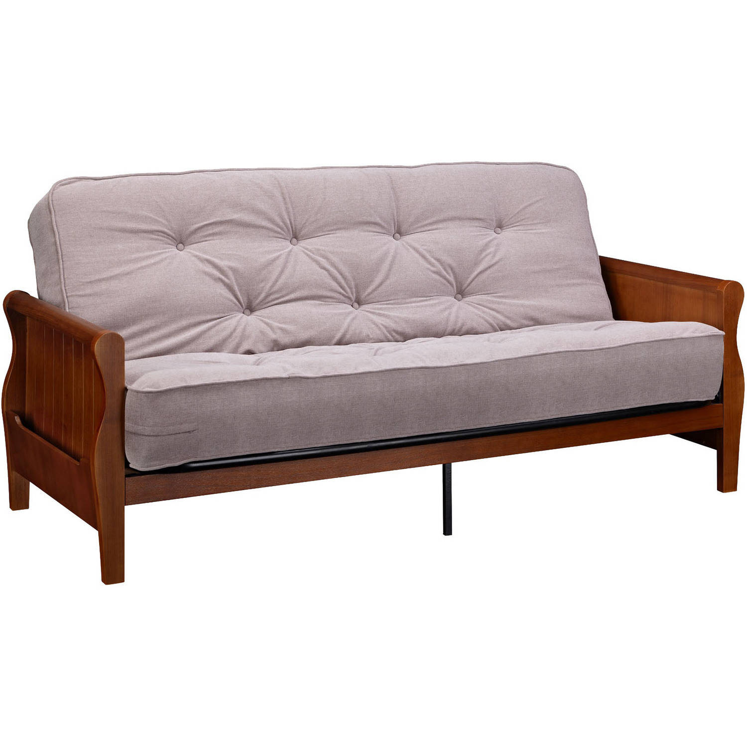 Better homes and gardens wood arm futon with 8 independently encased coil matt ebay Couch futon bed