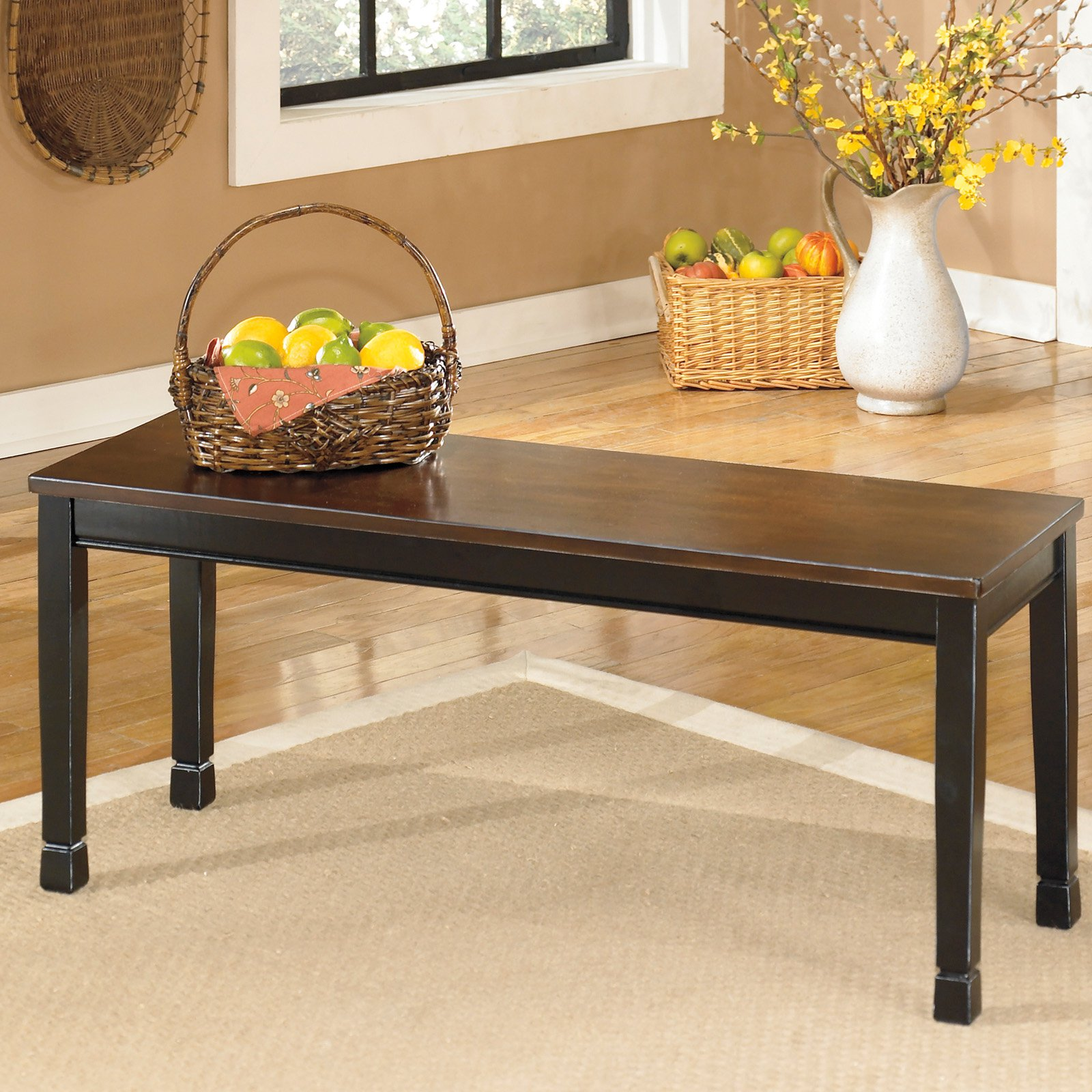 Black//Brown Signature Design by Ashley Owingsville Large Dining Room Bench
