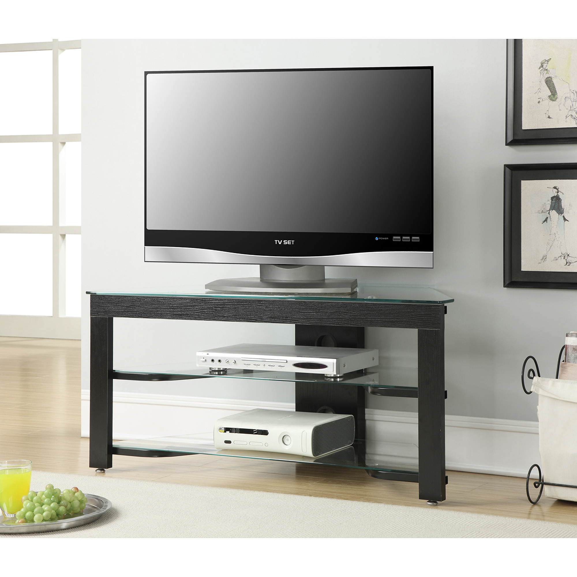 Convenience Concepts Designs2Go Wood and Glass TV Stand for TVs up
