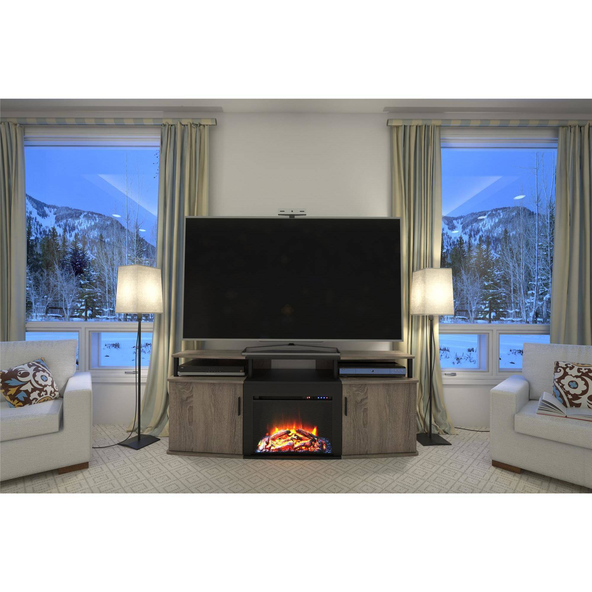 carson fireplace tv console for tvs up to 70 multiple colors ebay. Black Bedroom Furniture Sets. Home Design Ideas