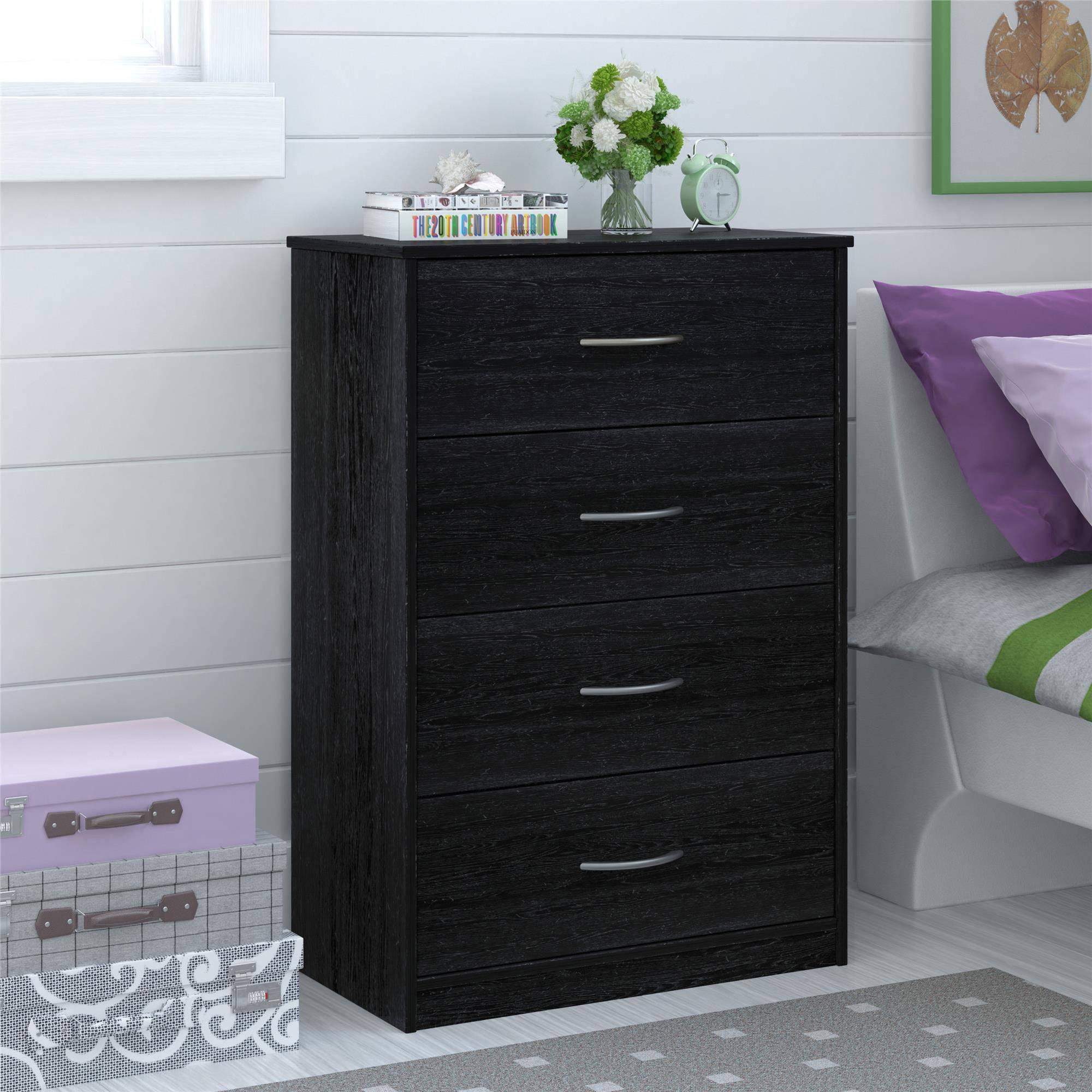 Mainstays Bedroom Storage Dresser Chest 4 Drawer Modern