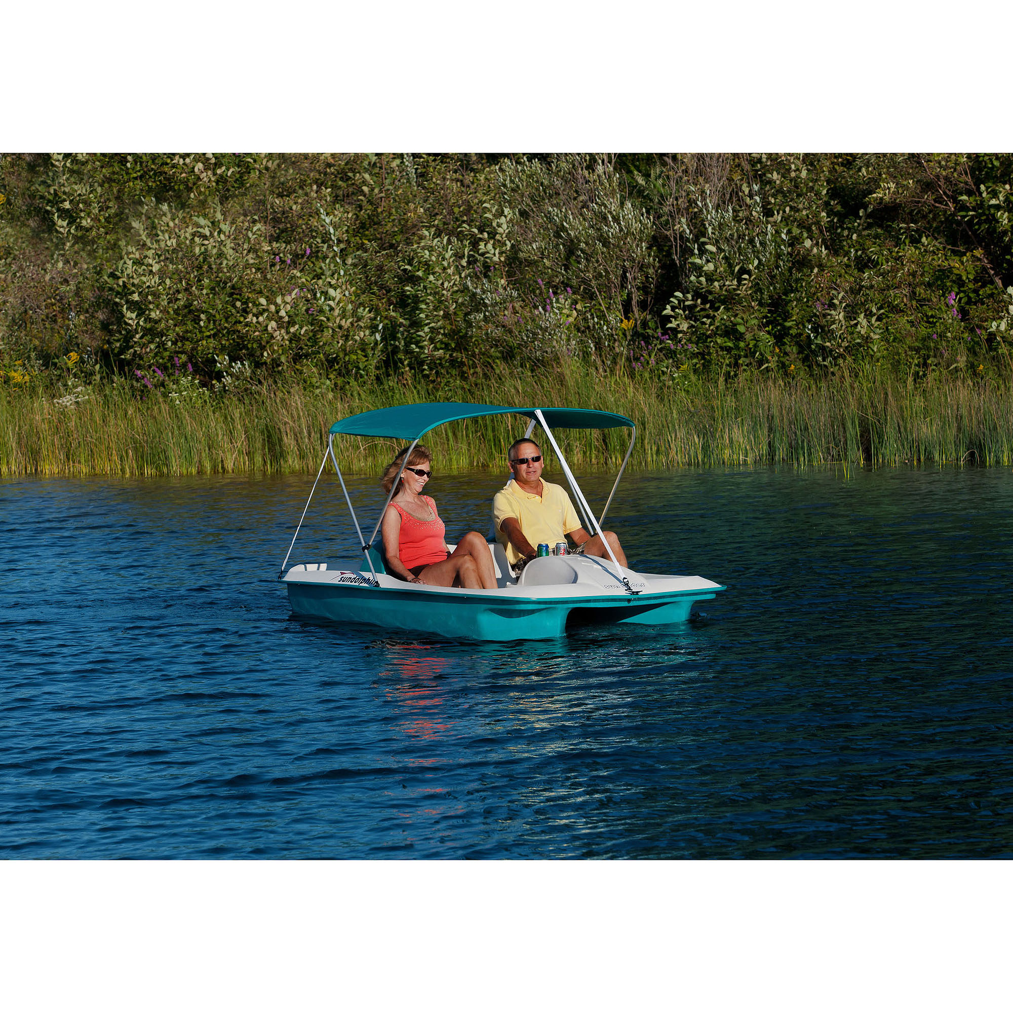 Sun dolphin 5 person sun slider pedal boat with canopy ebay for Sun dolphin fishing boat
