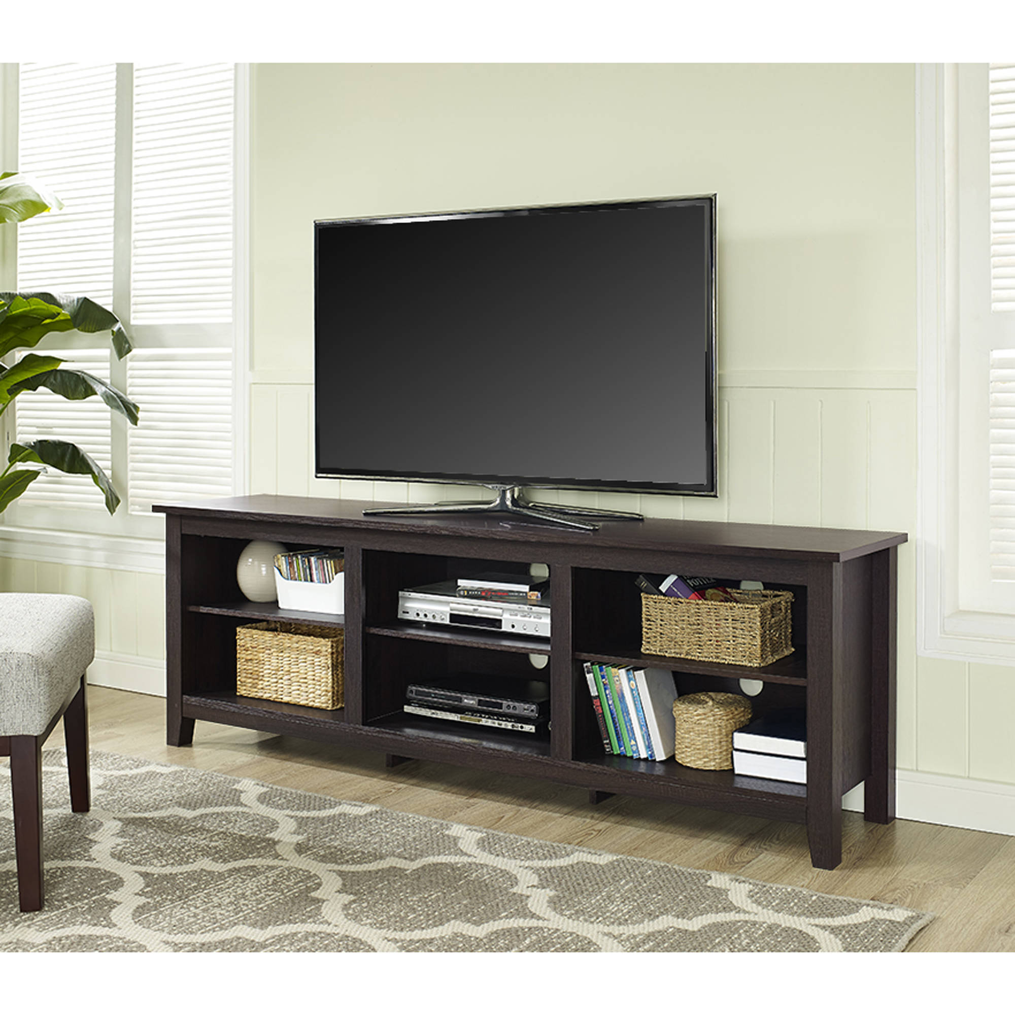 Wood Tv Stand For Tvs Up To 70 Quot Multiple Finishes Ebay