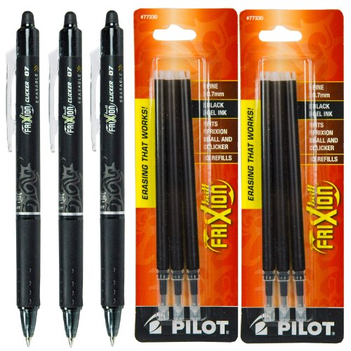 Pilot Frixion Clicker Retractable Gel Ink Pens Eraseable