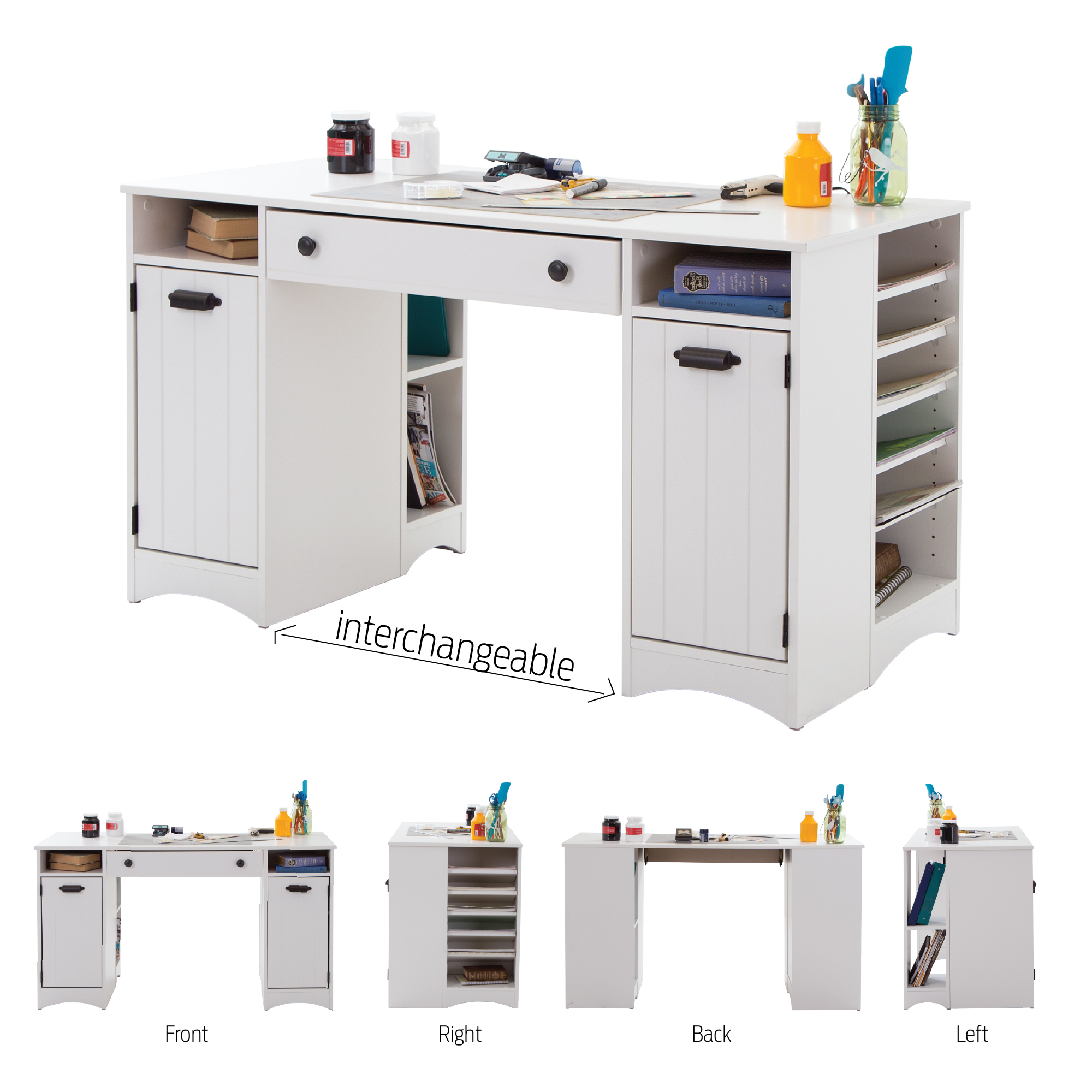 Charmant South Shore Artwork Craft Table With Storage Pure