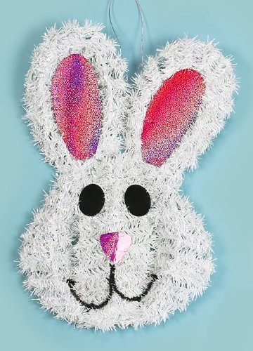 Hanging easter bunny tinsel wreath