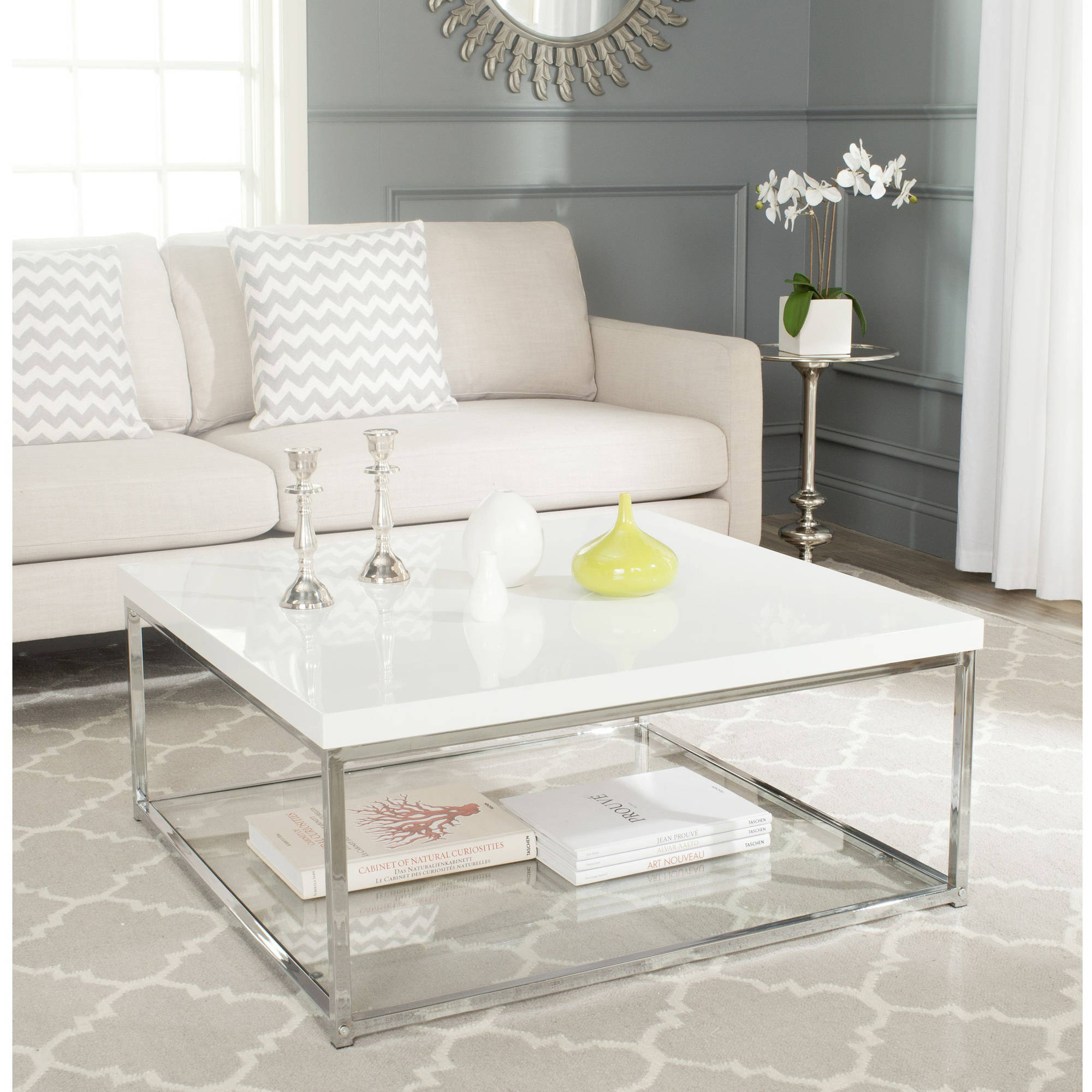 Safavieh Malone Coffee Table White and Chrome