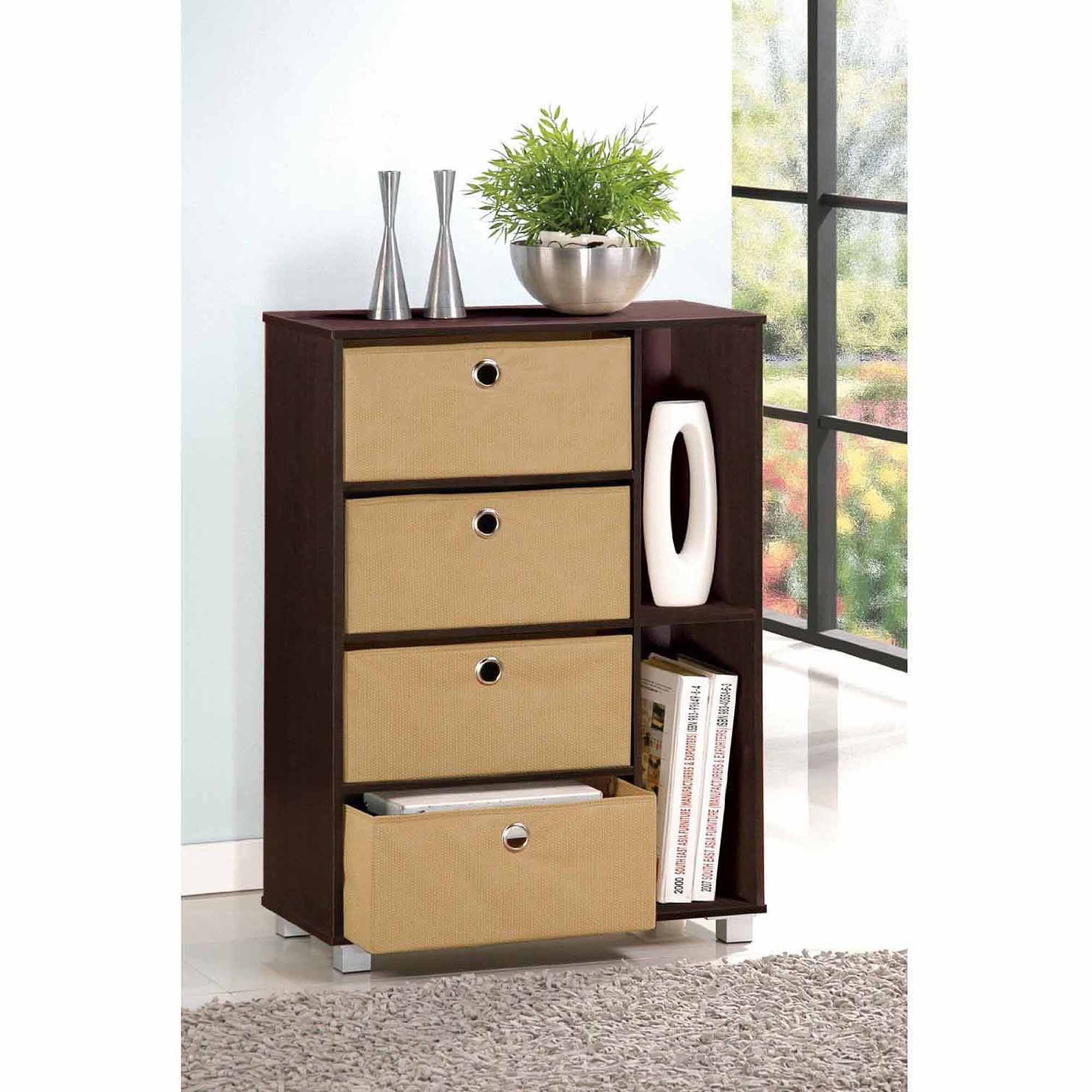 Image is loading Furinno-11159-Multipurpose-Storage-Cabinet-with-4-Bin-  sc 1 st  eBay & Furinno 11159 Multipurpose Storage Cabinet with 4 Bin Drawers | eBay