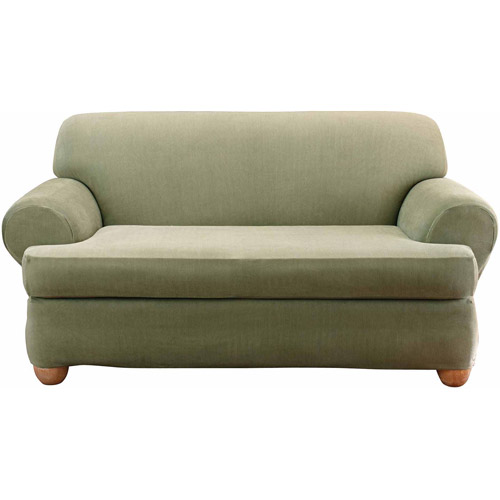 Sofa Slipcover With Separate Cushion Covers: Sure Fit Stretch Stripe Separate Seat T-Cushion Loveseat