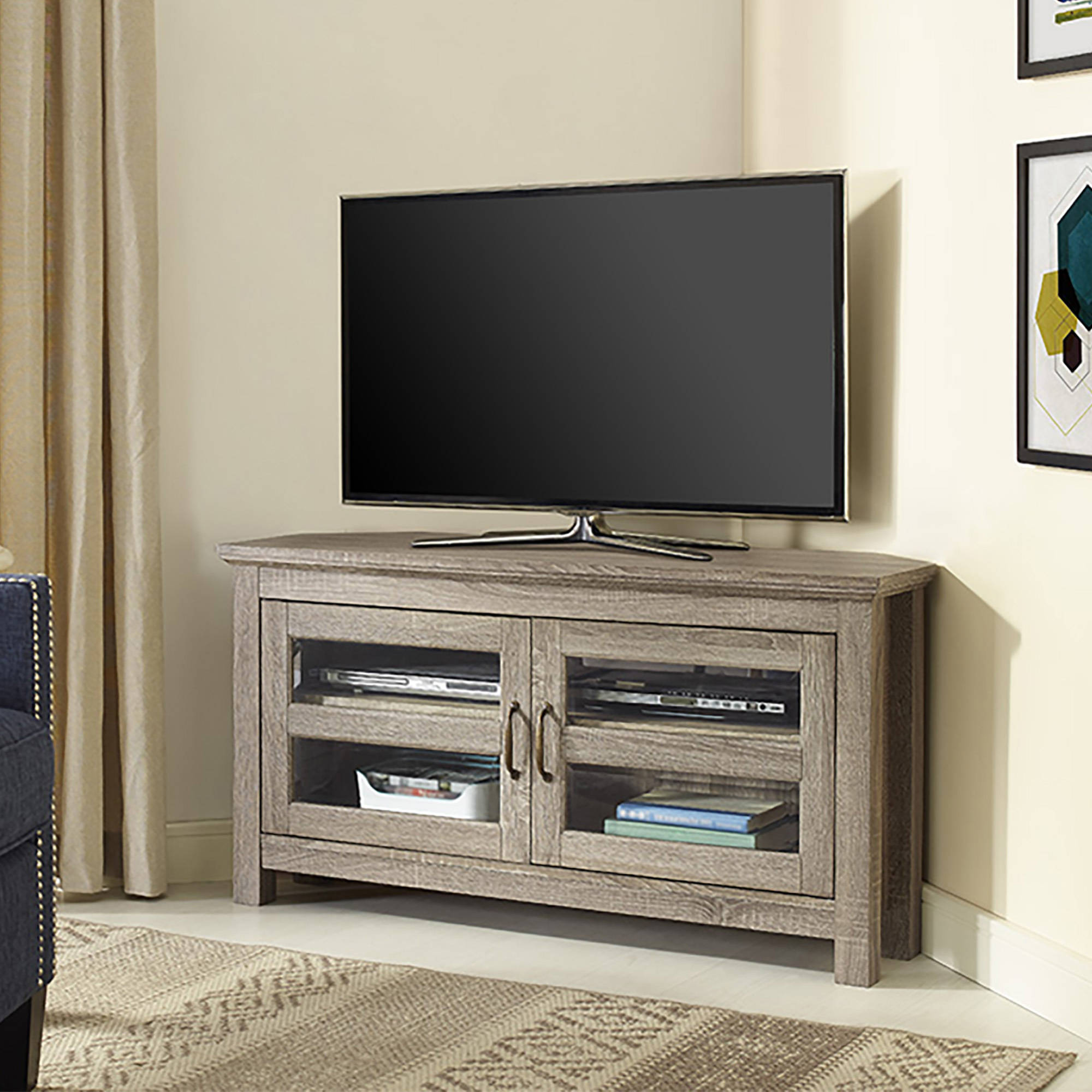walker edison black corner tv stand for tvs up to 48. Black Bedroom Furniture Sets. Home Design Ideas