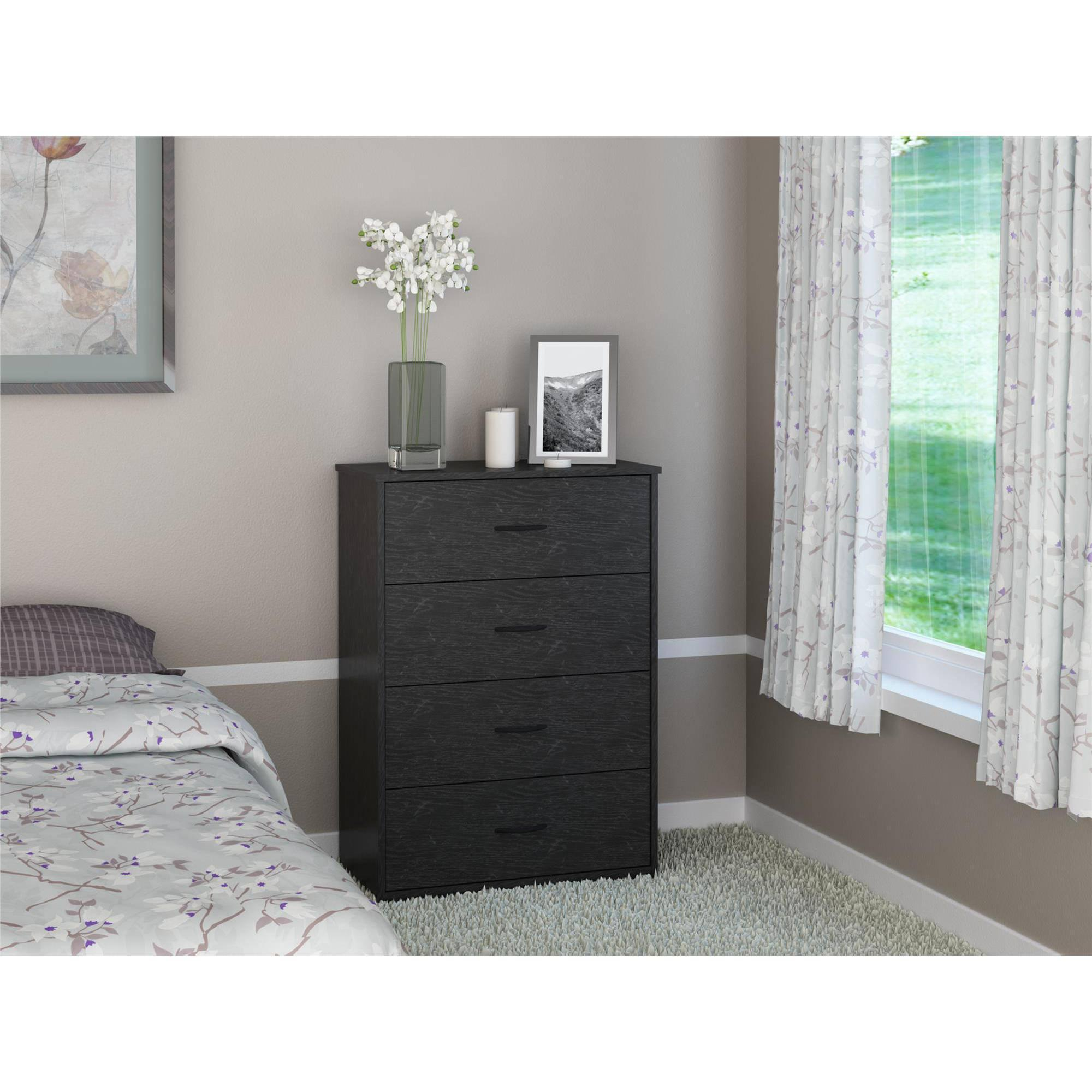 Mainstays bedroom storage dresser chest 4 drawer modern - Contemporary bedroom chest of drawers ...