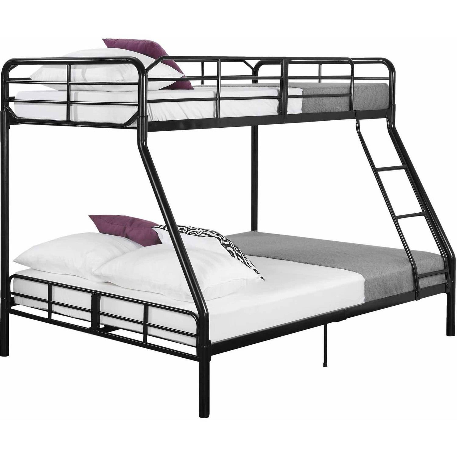 Twin over full metal bunk bed w ladder kids bedroom Black bunk beds