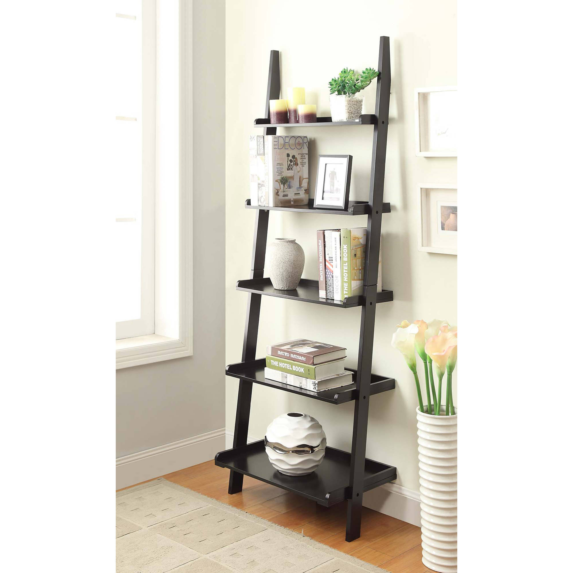 modern monarch bookcase storage h cappuccino ladder w display white open shelves itm drawers shelf