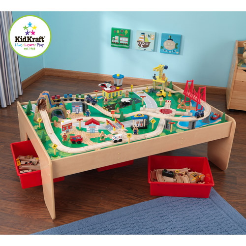 Kidkraft Wooden Train Table And 120 Piece Waterfall