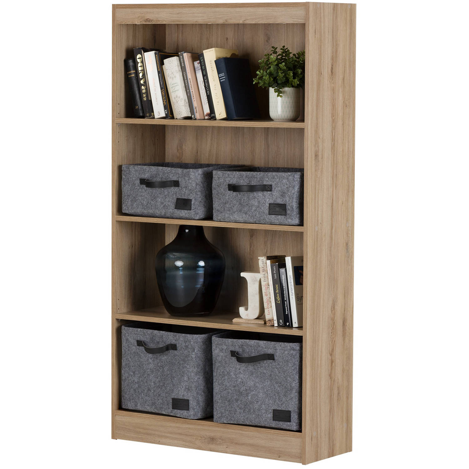 south reflekt shelf gray raw shore oak bookcase