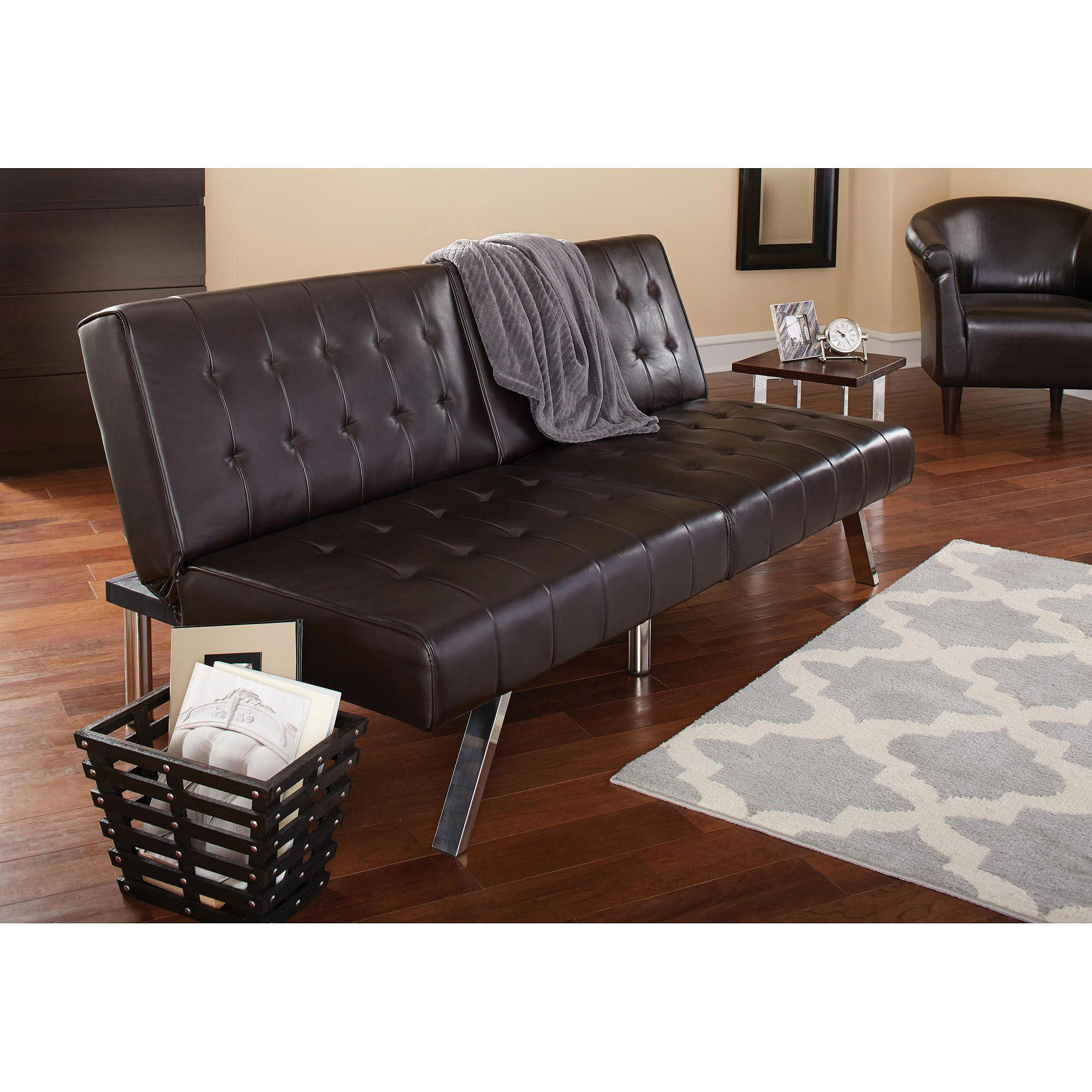 mainstays faux leather tufted convertible futon brown  ebay - w