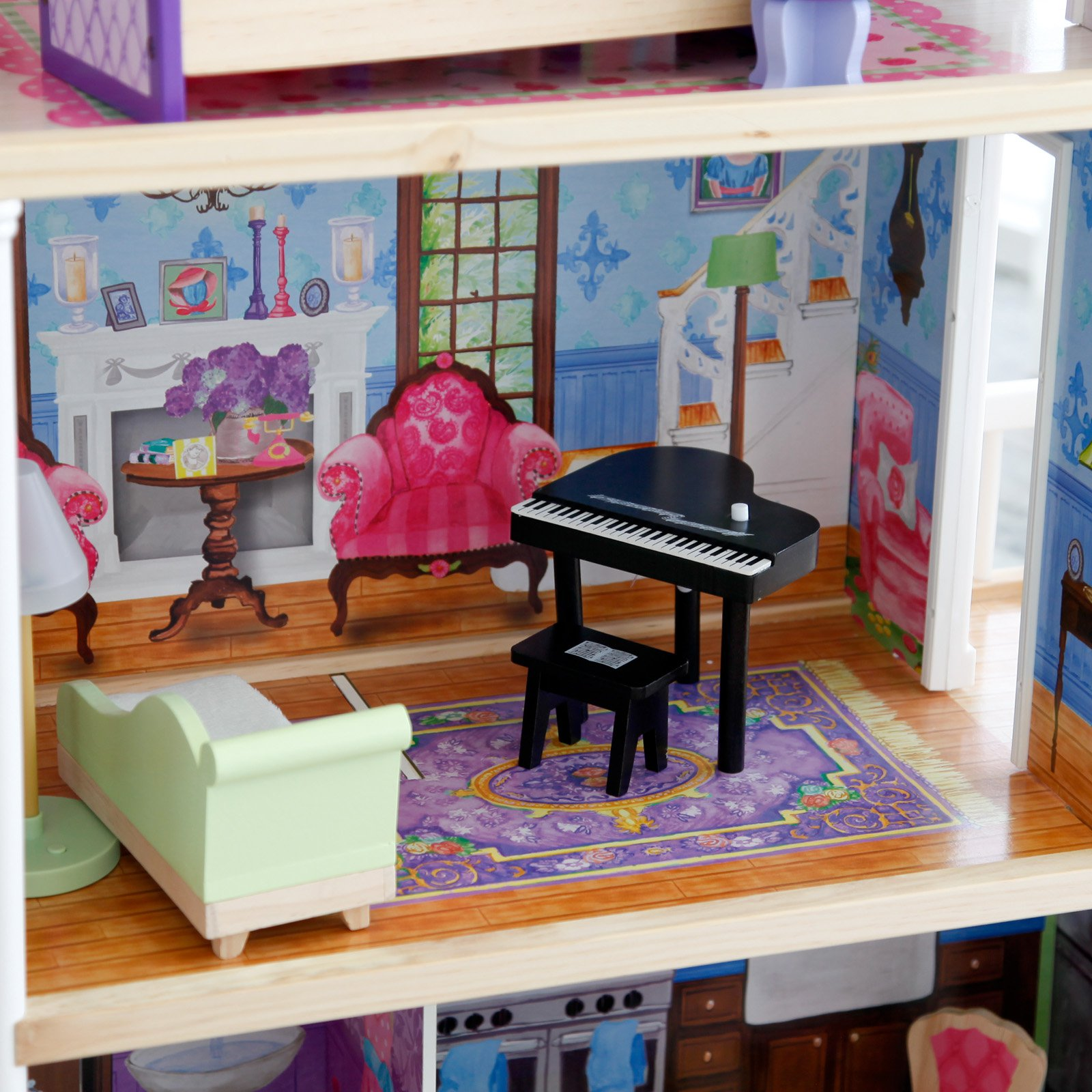 Kidkraft My Dreamy Wooden Dollhouse With 14 Pieces Furniture Ebay
