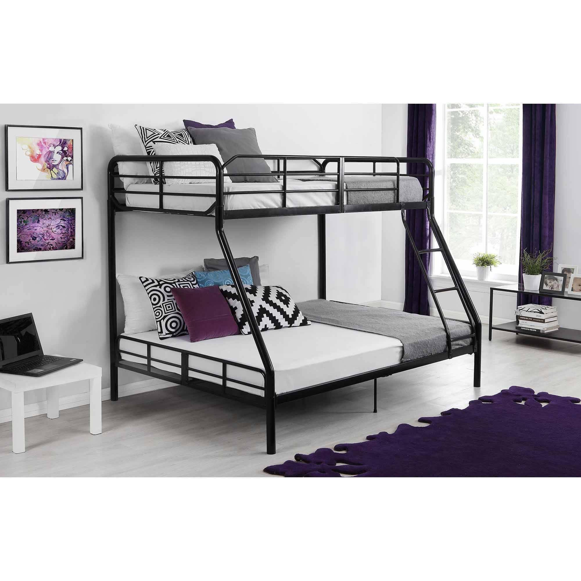 Twin over full metal bunk bed w ladder kids bedroom for Toddler bunk beds
