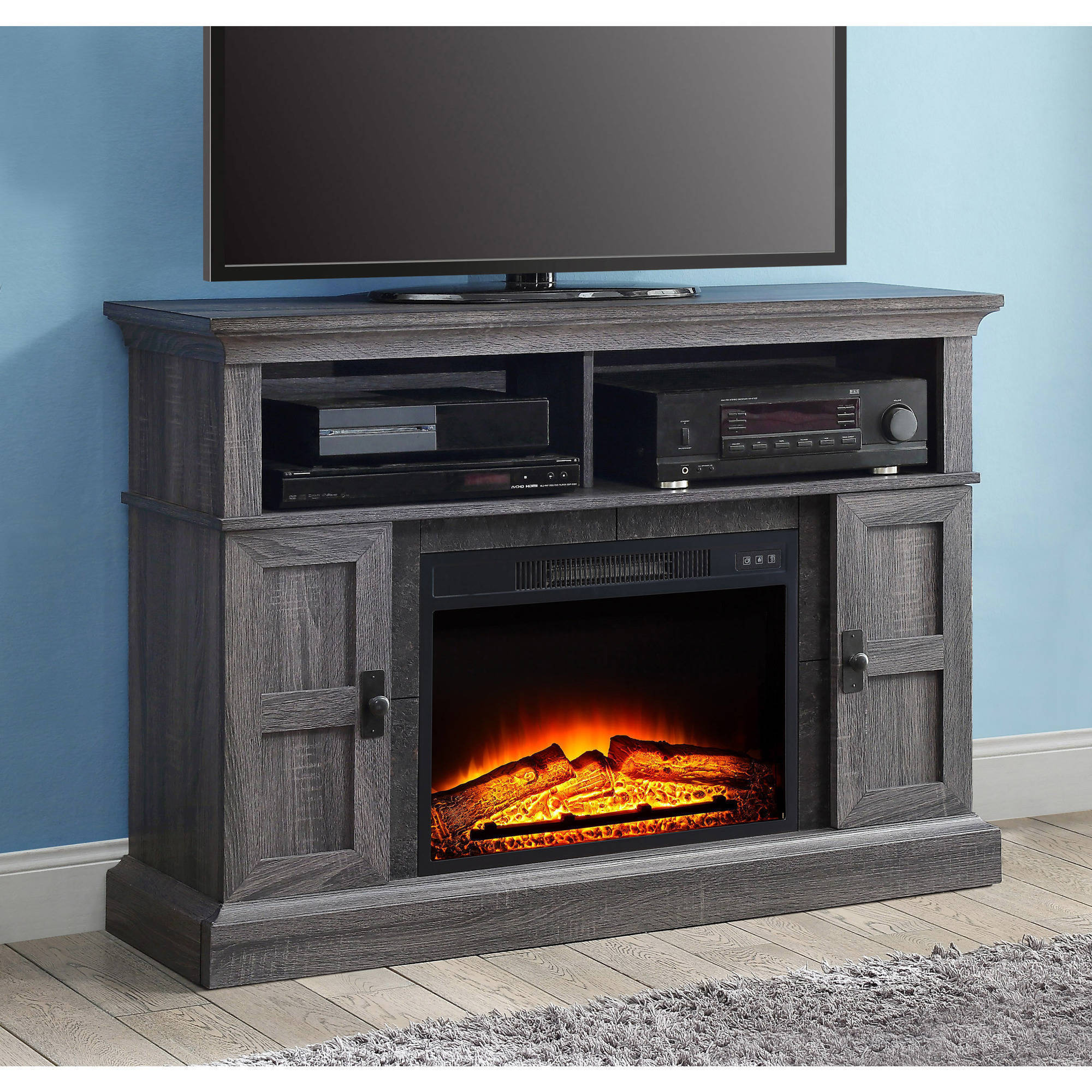 """Whalen Media Fireplace Console for TVs up to 55"""", Dark ..."""