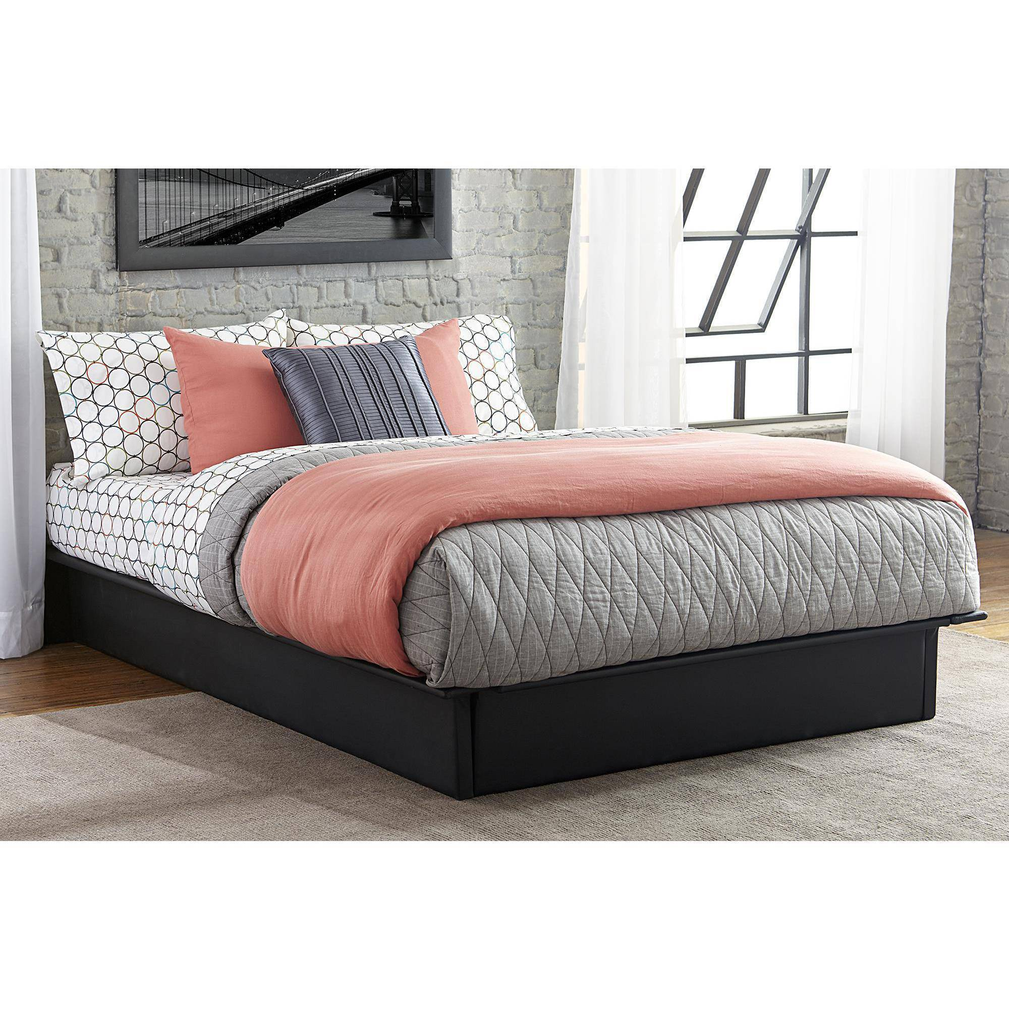 mavenupholsteredfauxleatherplatformbedblackmultiple. maven upholstered faux leather platform bed black multiple sizes