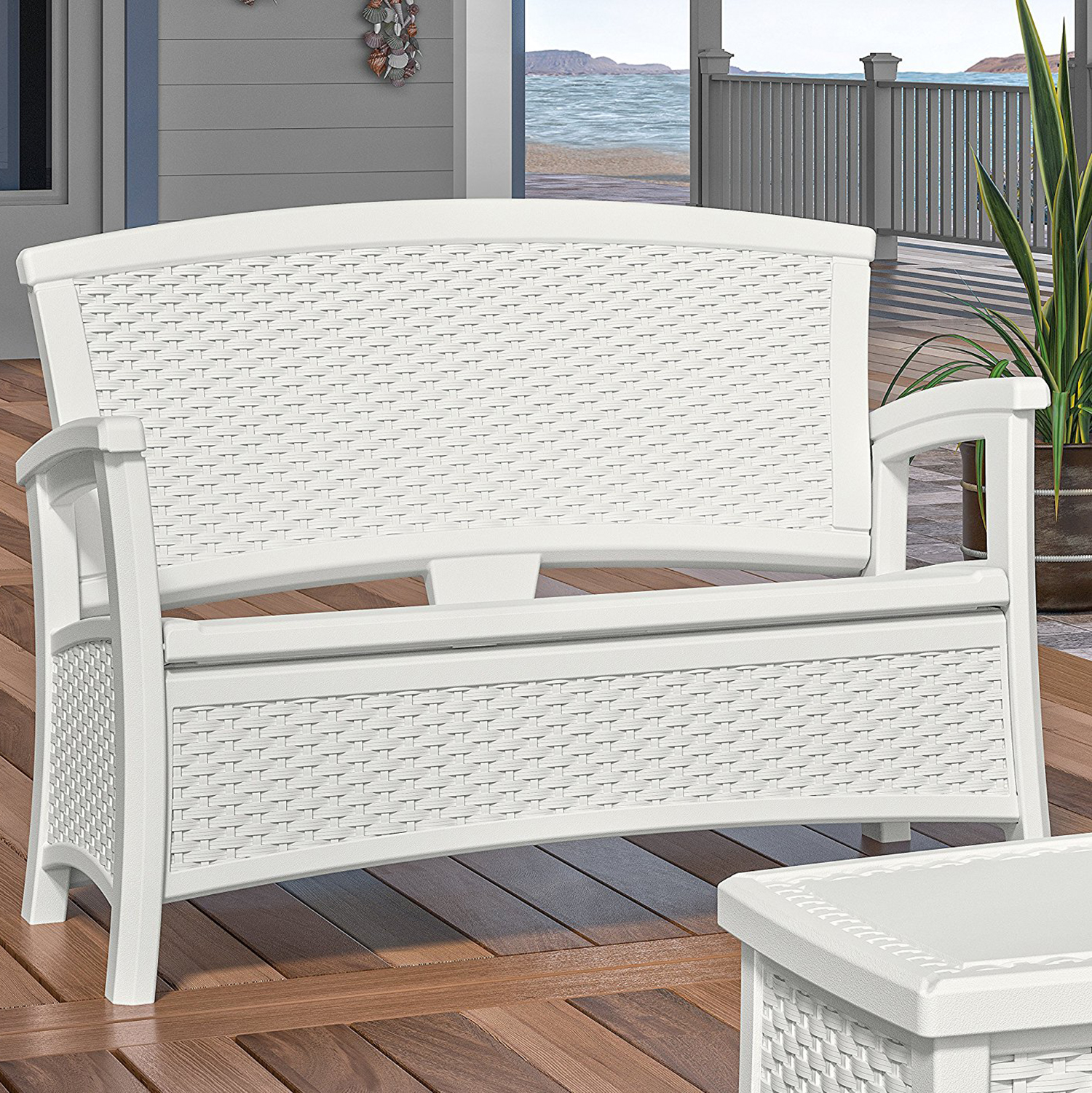 Suncast Elements Coffee Table With Storage White: Suncast Elements Resin Wicker Bench With Storage