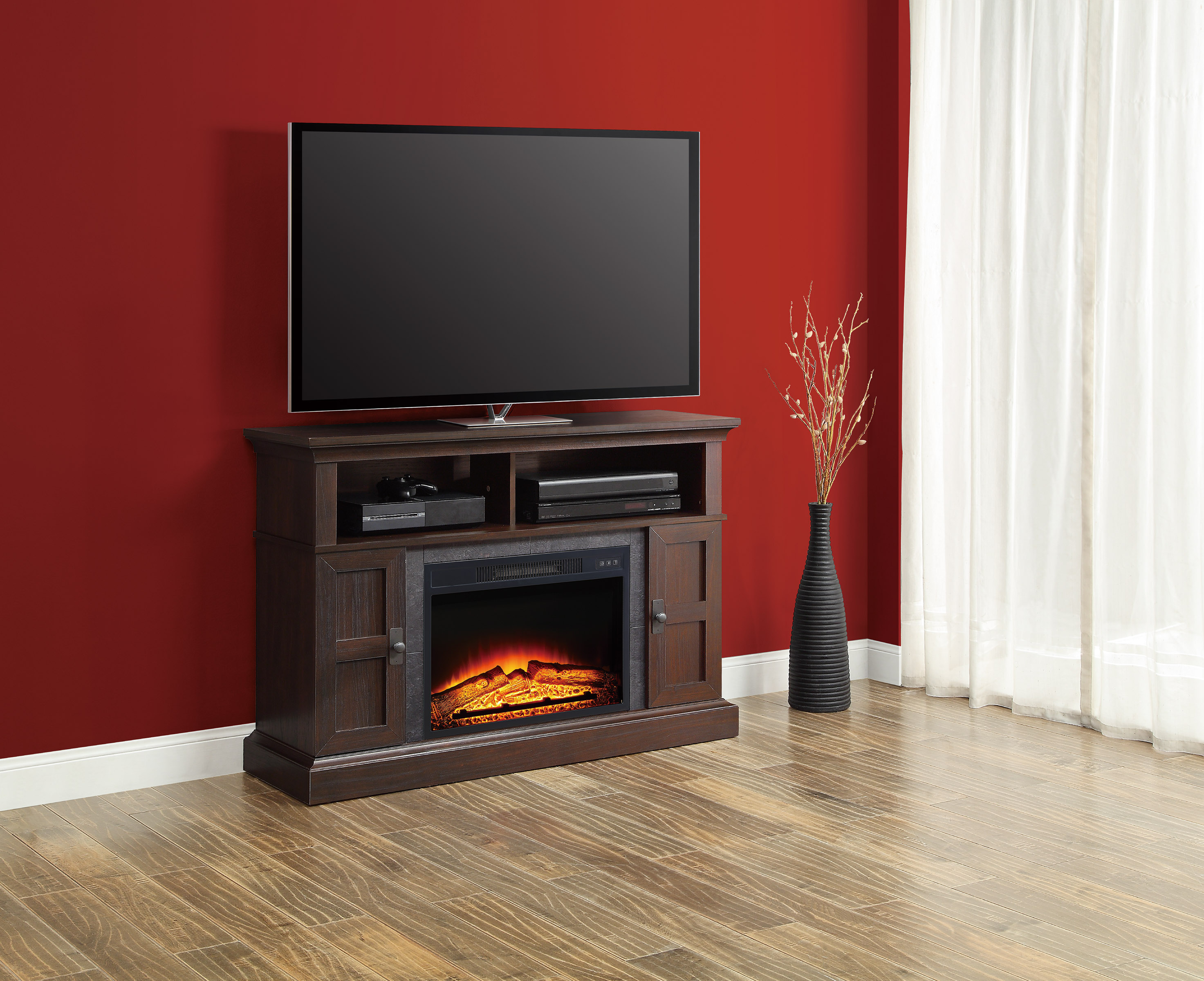 """Whalen Media Fireplace Console for TVs up to 55"""" Dark"""