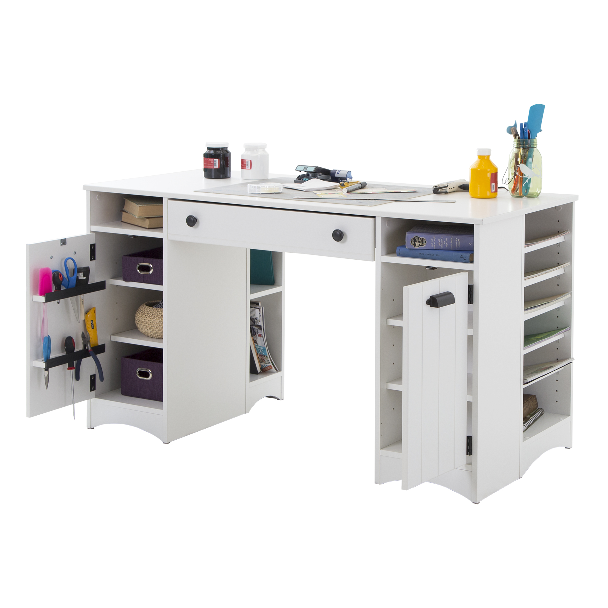 South Shore Artwork Craft Table With Storage Pure