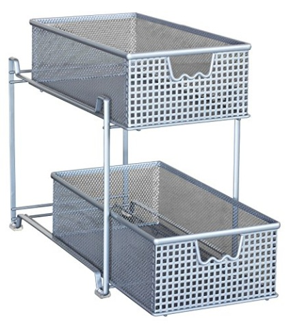 Decobros Two Tier Mesh Sliding Cabinet Basket Organizer