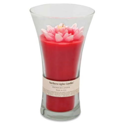 Northern lights candles floral vase scented candle 9 inch red w