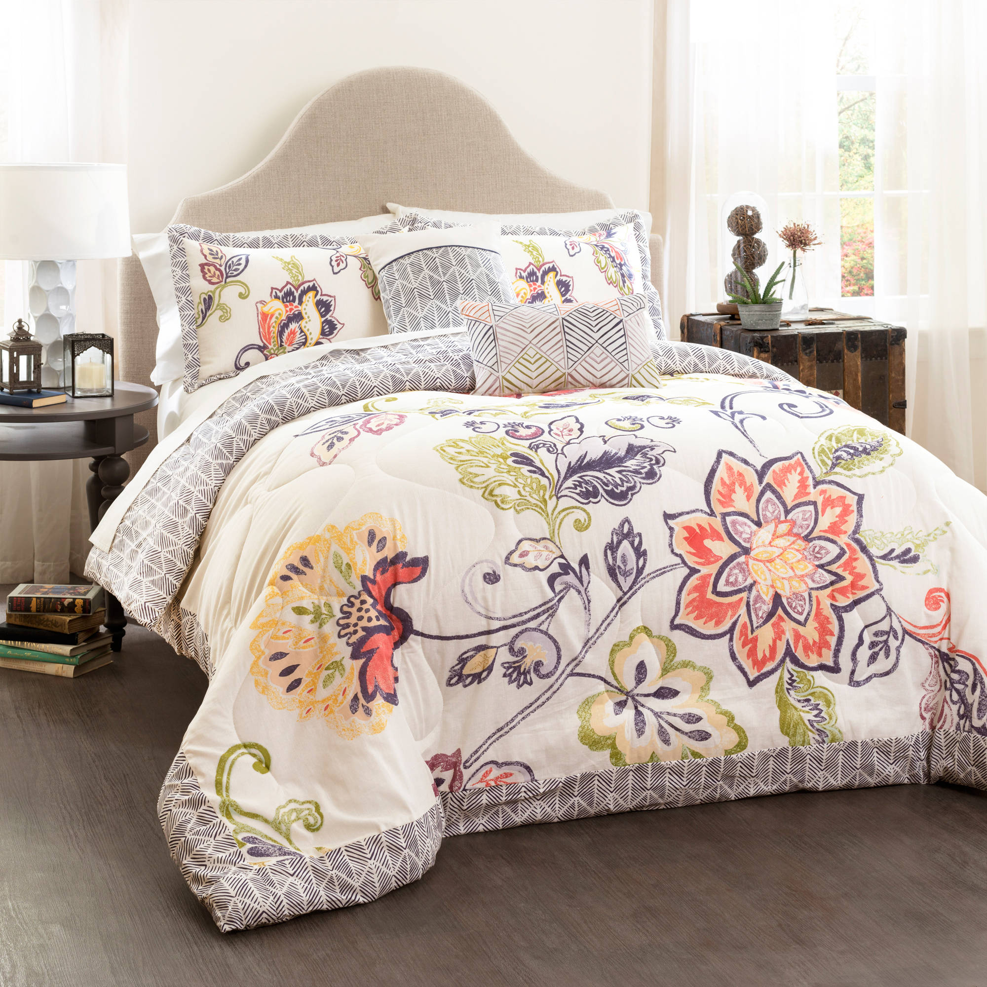 Image Is Loading Aster Quilted Comforter Coral Navy 5 Piece Set