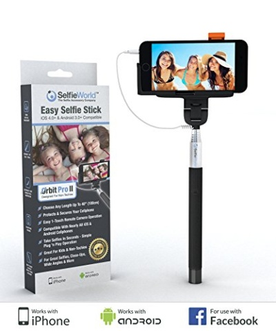 selfie world 1 easy plug 39 n play selfie stick takes selfi. Black Bedroom Furniture Sets. Home Design Ideas
