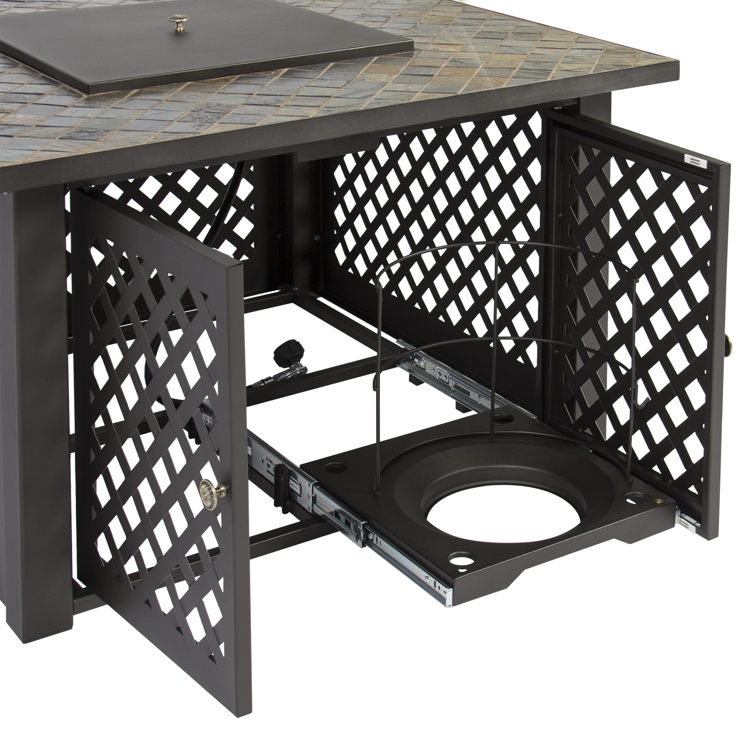 gas outdoor pit table firebowl w cover slate marble
