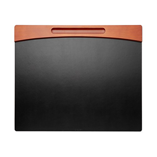 Rolodex Wood And Faux Leather Desk Pad Mahogany And Black