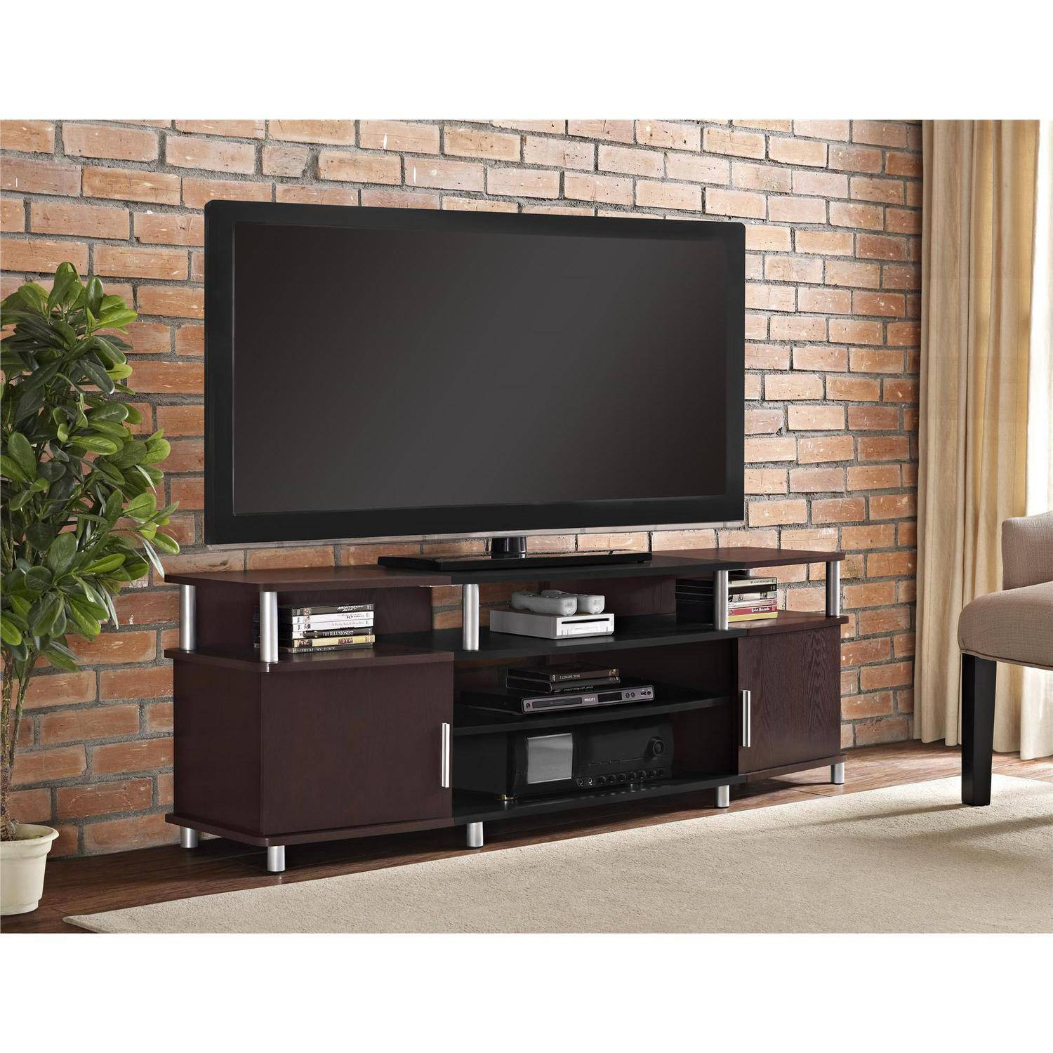 ameriwood home carson tv stand for tvs up to 70 wide cherry ebay. Black Bedroom Furniture Sets. Home Design Ideas
