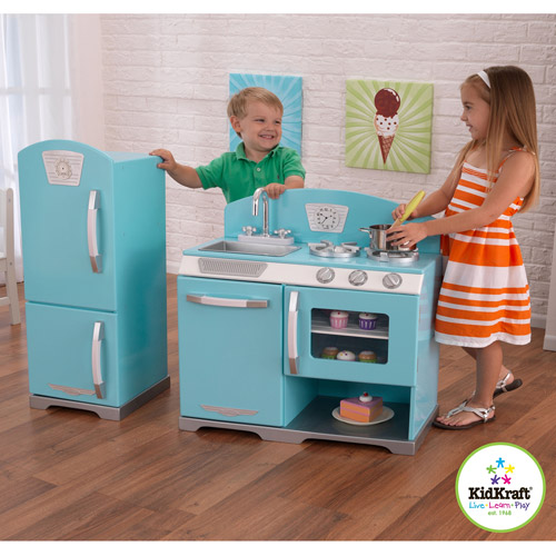 Blue Wooden Play Kitchen kidkraft blue retro wooden play kitchen and refrigerator | ebay